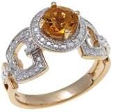 Sevilla Silver with Technibond Round Citrine Diamond-Accented Ring