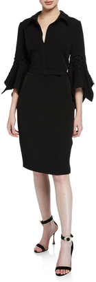 Badgley Mischka Hanky Bell-Sleeve Shirt Cocktail Dress w/ Lace Trim