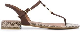 Emporio Armani logo-plaque T-bar sandals