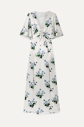 Les Rêveries Tie-front Floral-print Silk-satin Maxi Dress - White