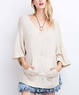 White Side-Slit V-Neck Sweater