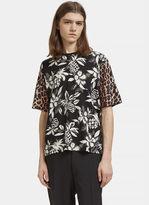 Saint Laurent Men's Hibiscus Leopard Print T-shirt In Black, White And Brown