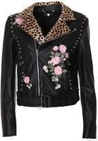 Twin-Set Women's Black Leather Outerwear Jacket.