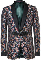 Gucci Blue Paisley Jacquard Tuxedo Jacket