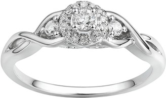 Promise Love Forever 1/5 Carat T.W. Certified Diamond Sterling Silver 3-Stone Halo Promise Ring