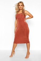 boohoo Plus Ruched Bodice Textured Slinky Midi Dress