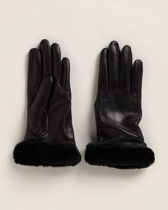 UGG Real Fur-Trimmed Shorty Leather Gloves