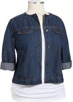 Old Navy Women's Plus Collarless Denim Jacket