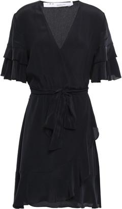 IRO Meadow Ruffled Crepe De Chine Mini Wrap Dress
