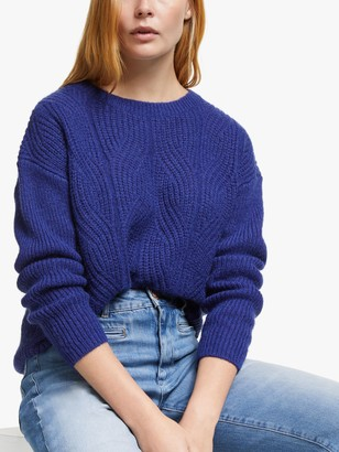 AND/OR Ellie Cable Knit Jumper, Ultramarine