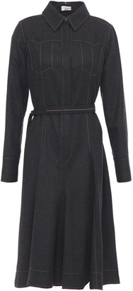 Brunello Cucinelli Bead-embellished Belted Wool-blend Felt Shirt Dress