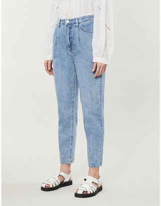 J Brand Peg high-rise straight stretch-denim jeans