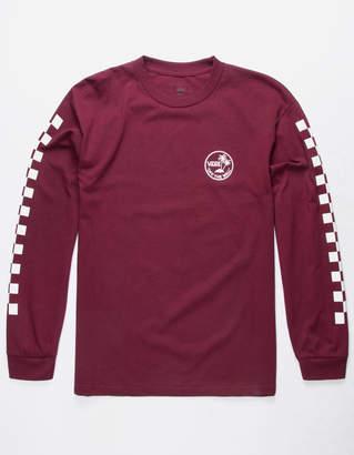 Vans Dual Palm Check Burgundy Mens T-Shirt
