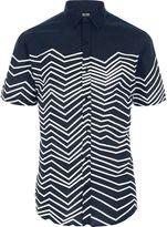 ONLY & SONS River Island Mens Blue zig zag short sleeve shirt