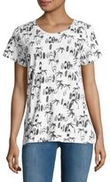 French Connection Printed Short-Sleeve Cotton Tee