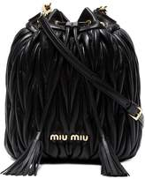 Miu Miu Black Matelassé Leather bucket bag