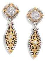 Konstantino Asteri Diamond, 18K Yellow Gold & Sterling Silver Filigree Marquis Drop Earrings