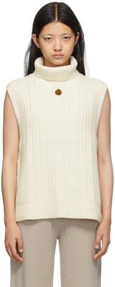Victoria Victoria Beckham Off-White Knit Turtleneck Vest