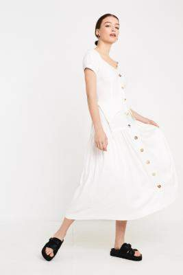 Urban Outfitters House Of Sunny Rustic White Cold Shoulder Midi Dress - white UK 6 at