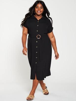 V By Very Curve V by Very Curve Button Through Shirt Dress - Black