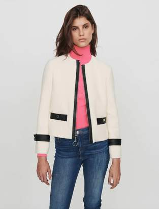 Maje Zipped tweed-style contrast jacket
