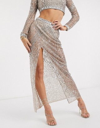 Starlet sheer embellished maxi skirt two-piece in gold