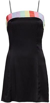 Olivia Rubin Lettie Rainbow Sequin-Trim Bow Mini Silk Slip Dress