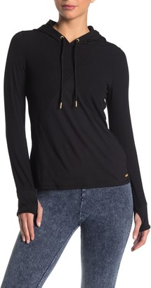 Andrew Marc Active Ribbed Knit Long Sleeve Hoodie