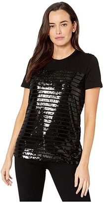 Lauren Ralph Lauren Sequined Cotton-Blend Tee (Black/Black) Women's Clothing