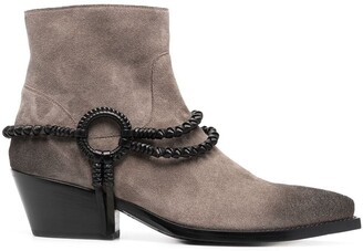 Sartore Leather-Trimmed Ankle Boots