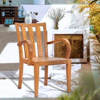 Chic Teak Boston Teak Wood Indoor/ Outdoor Patio Dining Arm Chair