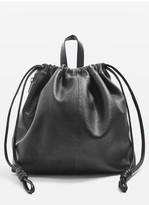 Topshop Premium Leather Drawstring Backpack - Black