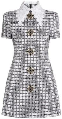 Andrew Gn Embellished Tweed Mini Dress
