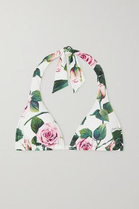 Dolce & Gabbana Floral-print Halterneck Bikini Top - White