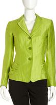 Lafayette 148 New York Tory Linen-Blend Jacket, Verde Iridescent