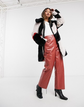 Urban Code Urbancode Pingu faux fur coat in white and black