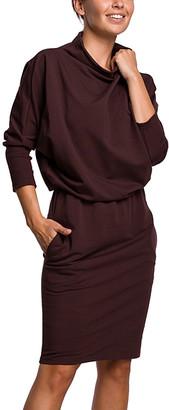 BeWear Women's Casual Dresses brown - Brown Mock Neck Blouson Dress - Women