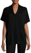 Neiman Marcus Silk-Cashmere Short-Sleeve Pullover Top, Black