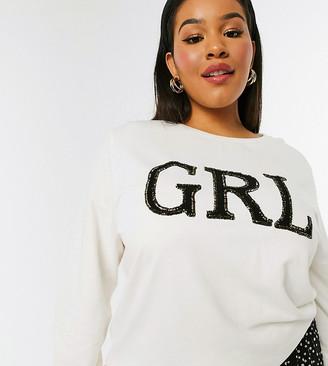 Simply Be slogan sweatshirt in ivory