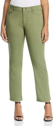 NYDJ Plus Marilyn Straight-Leg Sateen Jeans in Olivine