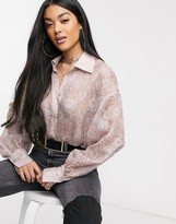 NA-KD Na Kd balloon sleeve structured blouse in dusty pink
