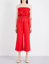 Sportmax Ughetta off-the-shoulder cotton-poplin jumpsuit