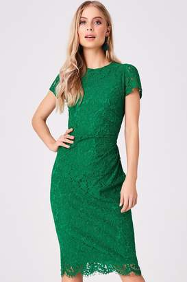 Girls On Film Outlet Shana Emerald Lace Midi Bodycon Dress