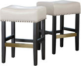 JCPenney Fallon Set of 2 Backless Bonded Leather Barstools with Nailhead Trim