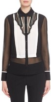 Yigal Azrouel Lace Inset Silk Tuxedo Blouse