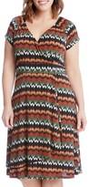Karen Kane Plus Size Women's Print Cascade Drape Dress