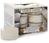 Yankee Candle Tea Light Candles, Sea Salt and Sage, Pack of 12