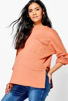 boohoo Maternity Felicity Oversized Pocket Lounge Sweater peach