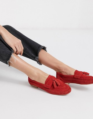 ASOS DESIGN Marble suede weave flat shoes in red