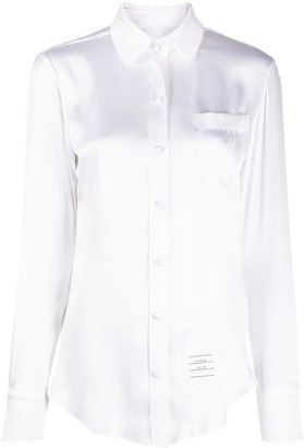 Thom Browne Satin 4-Bar Buttoned Shirt